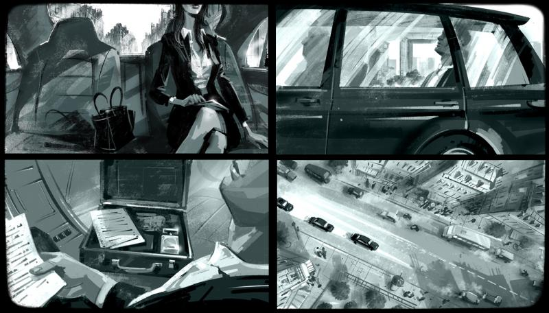 Tonal storyboard for a commercial